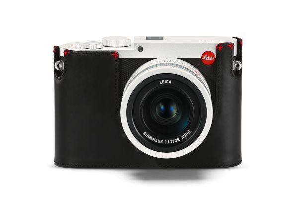 Leica Protektor Q, Leder, Schwarz, mit rotem Handstich